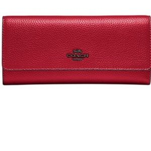Coach red leather trifold wallet